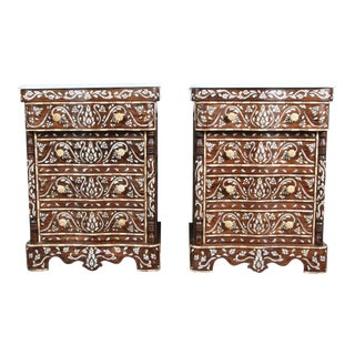 20th Century Moroccan Syrian Mother-Of-Pearl Inlay Nightstands - a Pair For Sale