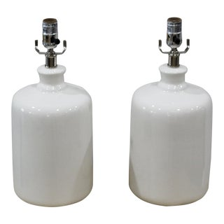 Transitional Jamie Young Cream Milk Jug Table Lamps - a Pair For Sale