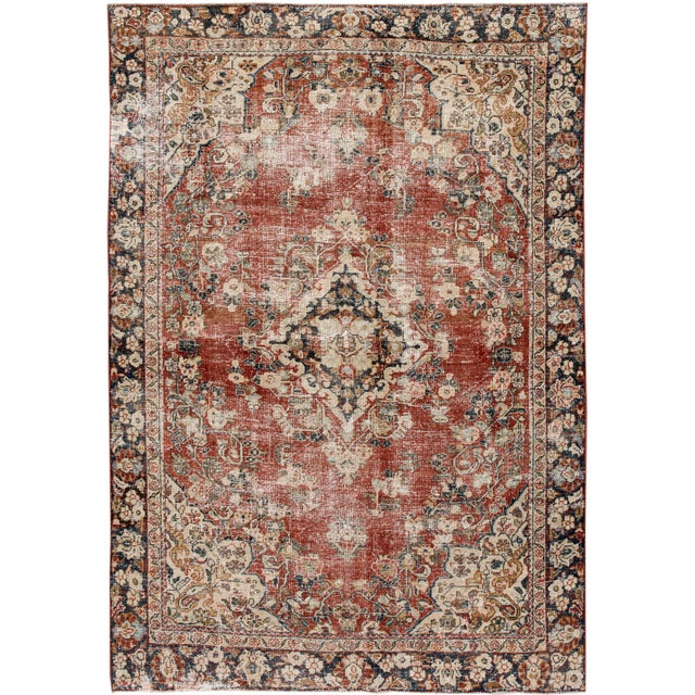 "Apadana-Antique Persian Distressed Rug, 6'6"" X 9'1"" For Sale - Image 10 of 10"