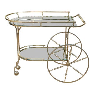 Vintage Brass Hollywood Regency 2 Tier Bar Cart For Sale