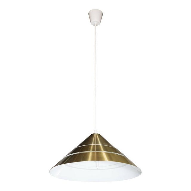 Gold Mid-Century Brass Cone Ceiling Pendant by Hans-Agne Jakobsson For Sale - Image 8 of 8