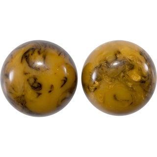 Bakelite Earrings Vintage Marbled Large Domed Caramel Cream & Brown Swirls For Sale