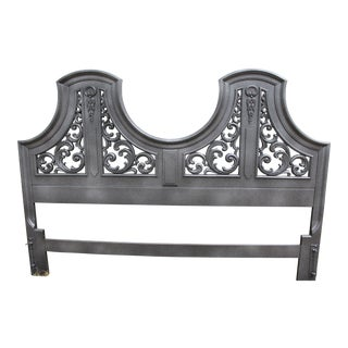 Black & Silver Ornate King Headboard