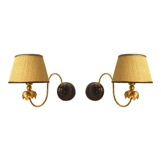 Italian 1940s Gilt Metal Swing Arm Wall Sconces - a Pair For Sale