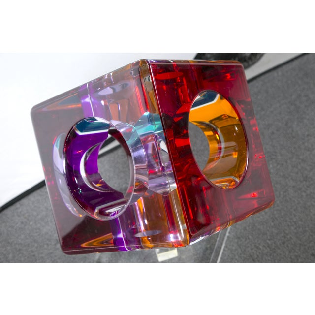 Hollow Colored Acrylic Cube Sculpture on Base For Sale - Image 7 of 8