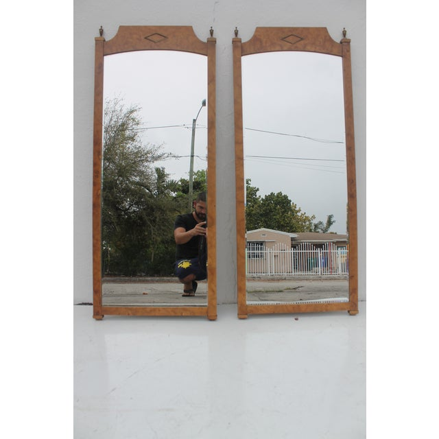 Burlwood & Brass Wall Mirrors - A Pair - Image 2 of 11