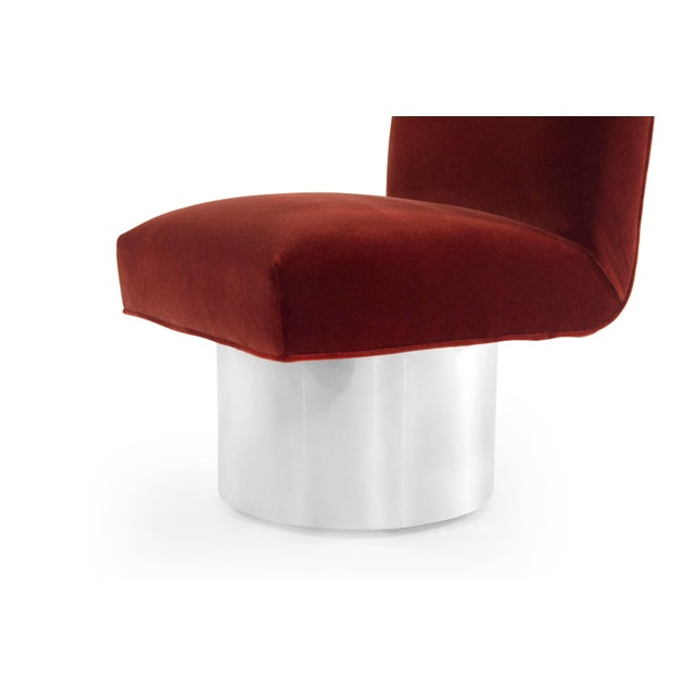 Milo Baughman Swivel Chairs on Drum Nickel Bases For Sale In New York - Image 6 of 10