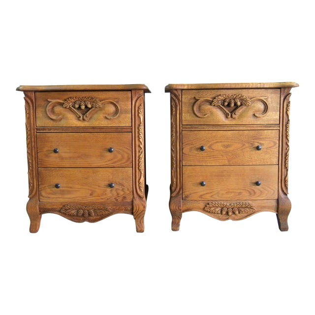 Carved Oak Nightstands - A Pair - Image 1 of 7