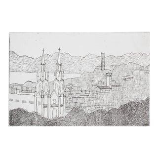San Francisco Landscape with Golden Gate Bridge, Etching, Late 20th Century