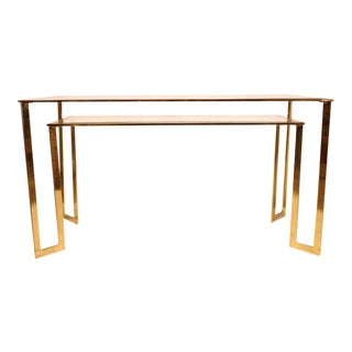 Modern Brass-Plated Two-Tier Desk