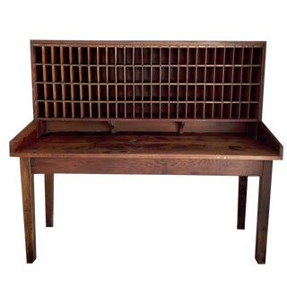 Vintage Rustic Post Office Desk / Table / Display Case