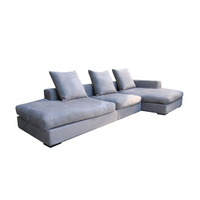 "Metal Danish BoConcept's ""Cenova"" Gray 3 Piece Sectional Sofa With Chaise Lounge For Sale - Image 7 of 7"