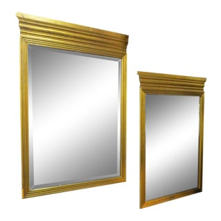 1960s Vintage Mid Century Modern Gilded Wood Framed Mirrors - a Pair For Sale