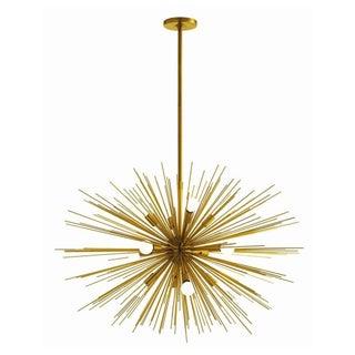 40 W Starburst 12 Light Antique Brass Chandelier For Sale