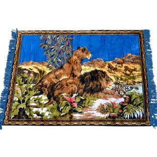 Lions on the Hunt Themed Tapestry Vintage Wall Decor Rug - 38ʺ X 53ʺ For Sale