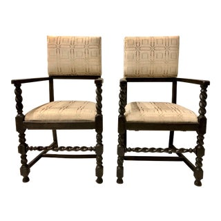 Antique English Oak Barley Twist Chairs-A Pair For Sale