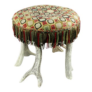 Antique Rustic Antler Stool Ca. 1900 For Sale