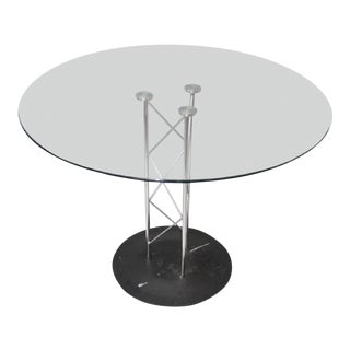 Contemporary Round Glass & Chrome Pedestal Table For Sale