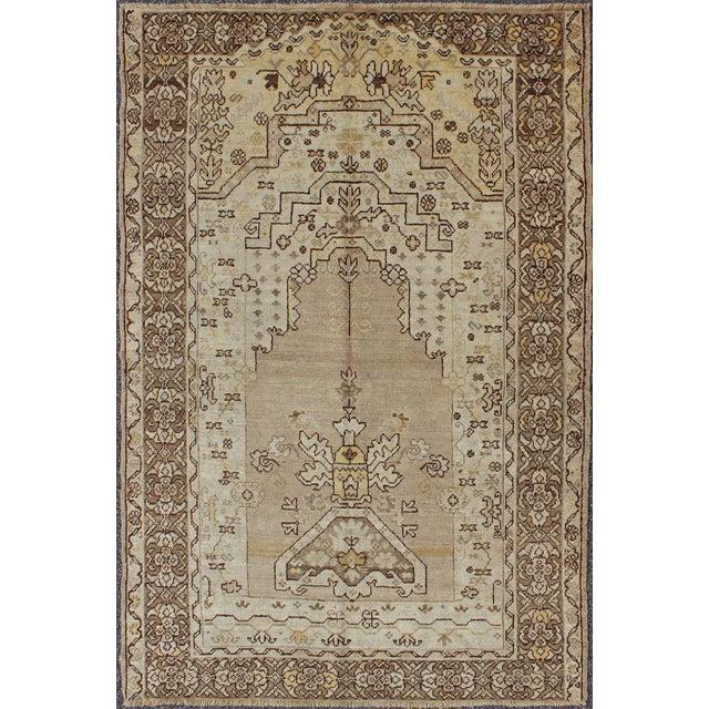 Textile 1920's Antique Turkish Oushak Prayer Rug - 4′ × 6′2″ For Sale - Image 7 of 7