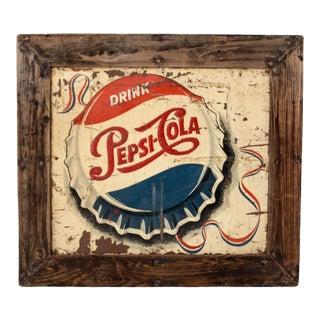 Vintage 1950s Pepsi Cola Sign in Barn Wood Frame For Sale
