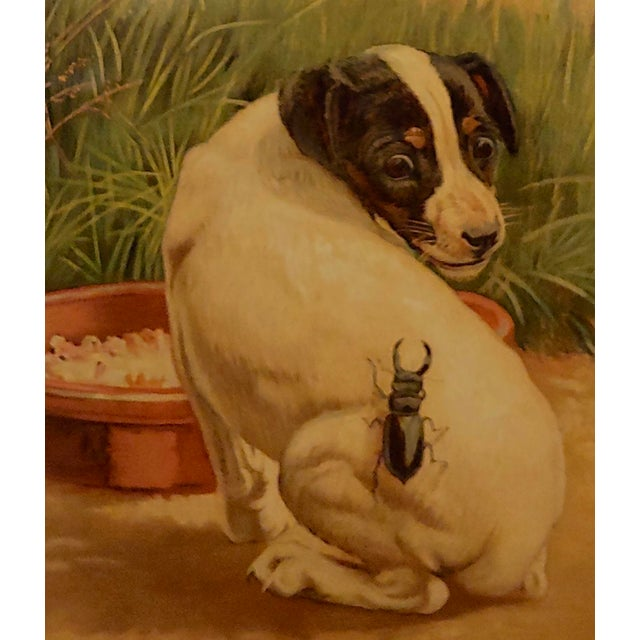 """Americana Late 19th Century Antique Edmund Caldwell """"Jack Russel Puppy With A Stag Beetle"""" Painting For Sale - Image 3 of 9"""