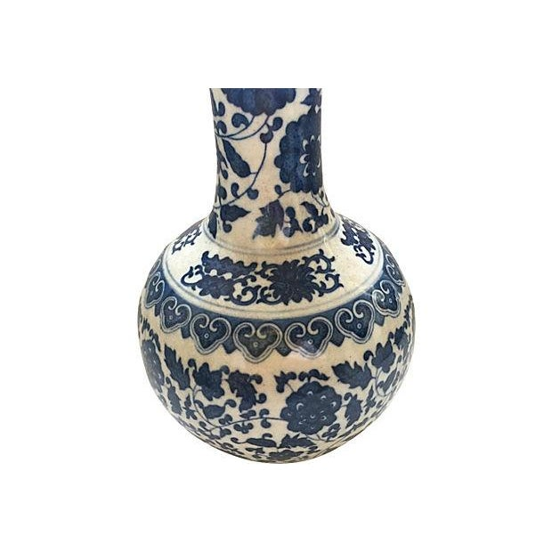 Blue & White Asian Floral Vase - Image 6 of 6