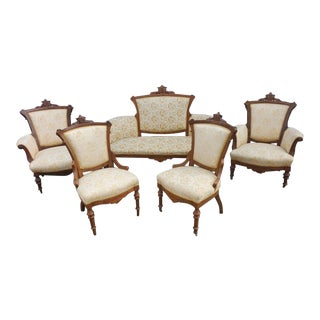 Antique Late 1800s Victorian Eastlake Gently Used Hand-Carved Walnut Parlor Set - Set of 5 For Sale