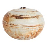 Image of Renzo Faggioli Ceramic Vessel in Cream and Striped Earthtones For Sale
