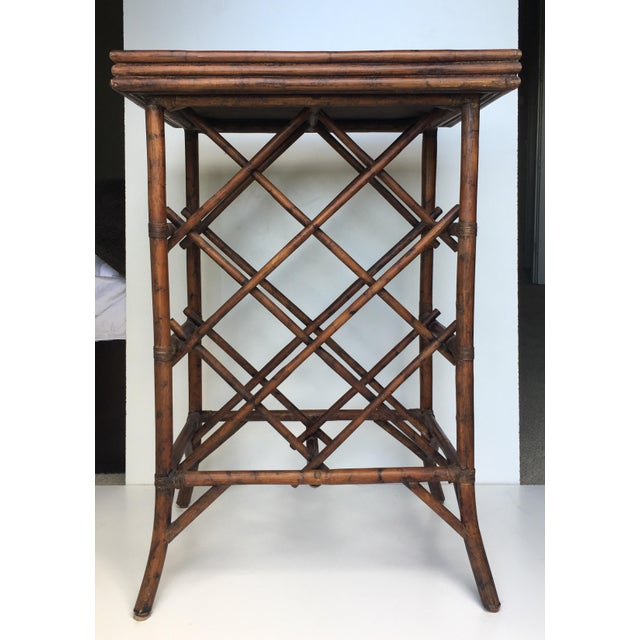 Classic vintage bamboo wine station. Tall bamboo 13 bottle wine rack with removable tray top. Extremely sturdy and ideal...