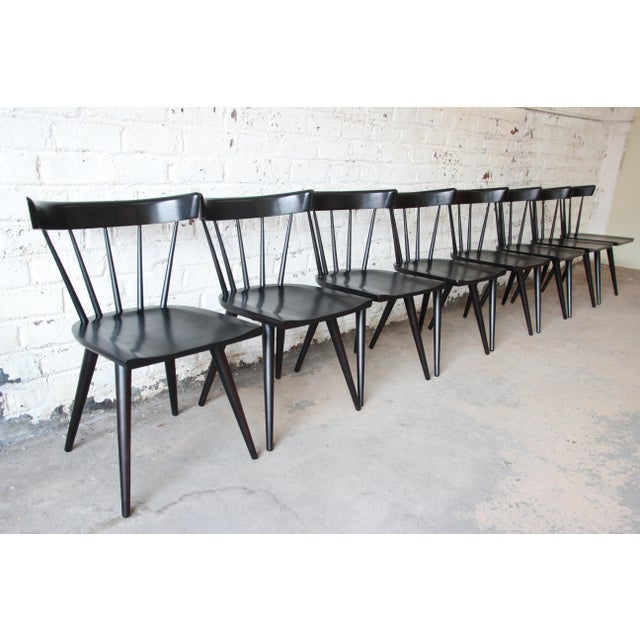 1950s Set of Eight Paul McCobb Ebonized Planner Group Dining Chairs For Sale - Image 5 of 13