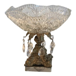 1960s Crystal Drop Glass Bowl Compote For Sale