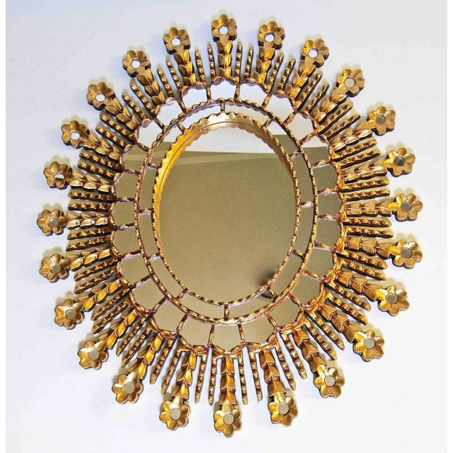 Mediterranean Sunburst Giltwood Oval Spanish Colonial Wall Mirror For Sale - Image 3 of 10