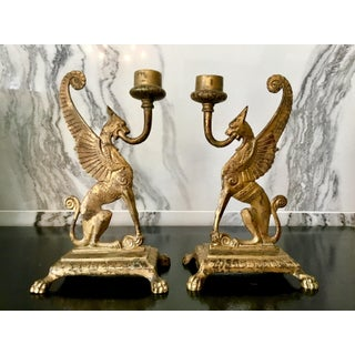 Early 20th Century English Griffin Candle Holders - a Pair Preview