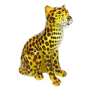 Vintage Mid Century Italian Art Deco Porcelain Cheetah Statue For Sale