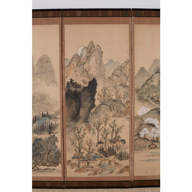19th Century Japanese Six Panel Meiji Landscape Screen For Sale - Image 5 of 13