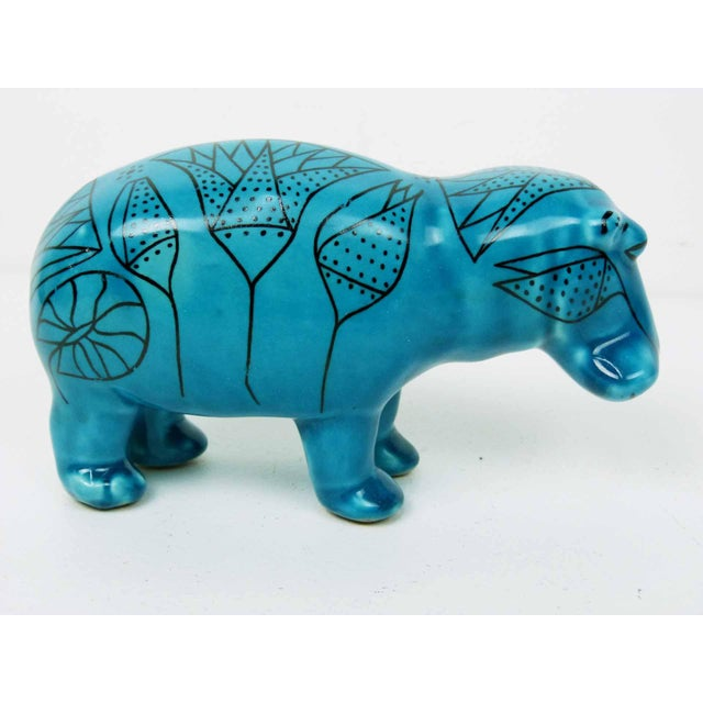 Bitossi Style Italian Blue Hippo Figurine - Image 2 of 7
