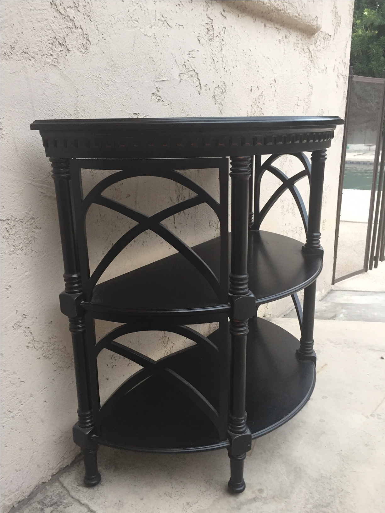 Beau Asian Black Wood Bamboo Style Demilune Entry Table For Sale   Image 3 Of 7