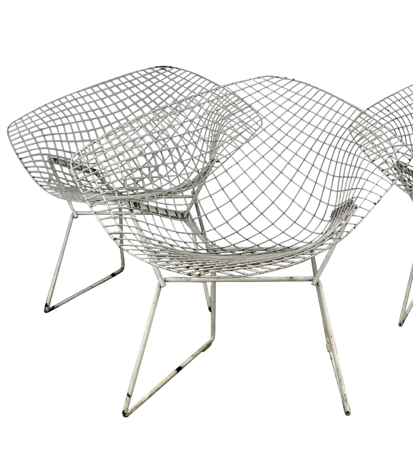 Charmant 1950s Vintage Harry Bertoia For Knoll Modern Diamond Chairs   A Pair