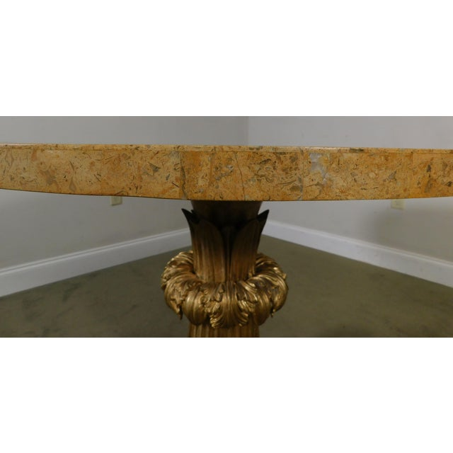 Neo-Classical Style Gilt Lion Carved Center table Round, Mosaic Tessellated Stone top For Sale - Image 11 of 13