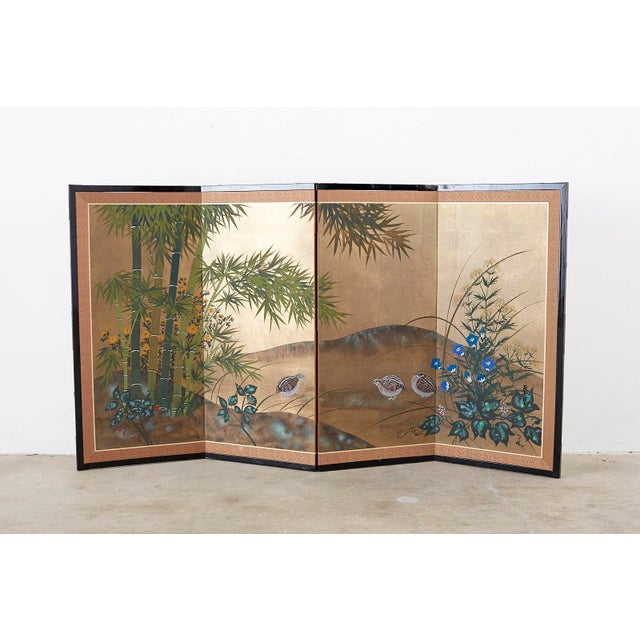 Japanese Four Panel Screen Quail in Flower Bamboo Landscape For Sale - Image 10 of 13
