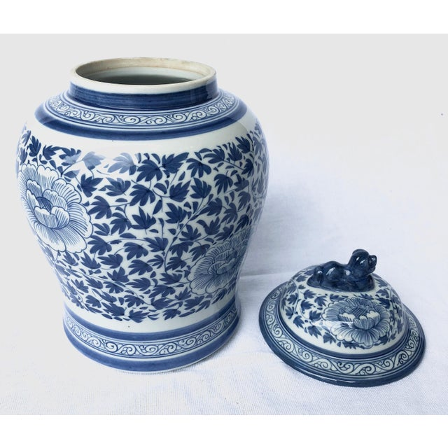 1970s Blue and White Porcelain Jar With Foo Dog Lid For Sale - Image 5 of 7