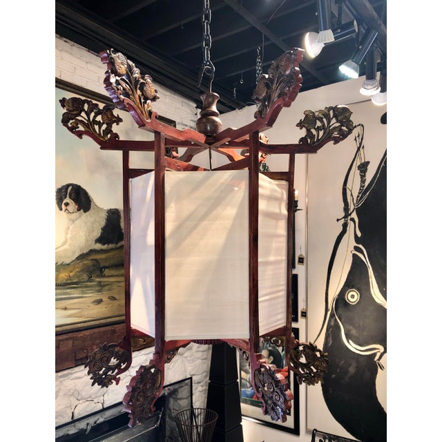 Antique Painted Carved Wood and Silk Japanese Candle Lantern For Sale - Image 13 of 13