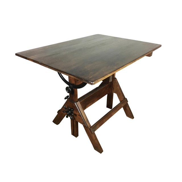 1920s Vintage 1920s Cast Iron Hardware, Solid Maple and Pine Drafting Table For Sale - Image 5 of 8