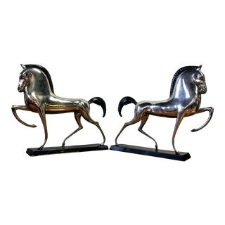 Art Deco Etruscan Horse Sculptures in the Manner of Boris Lovet-Lorski - Pair For Sale