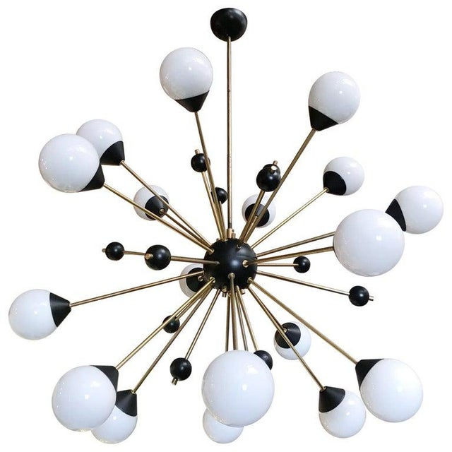 1960s Brass With White and Black Orbs Midcentury Sputnik Chandelier For Sale In Palm Springs - Image 6 of 6