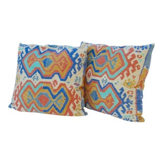 C.1970s-80s Vintage Boho Chic Killim-Style, Custom Made & Down Filled Pillows - a Pair For Sale
