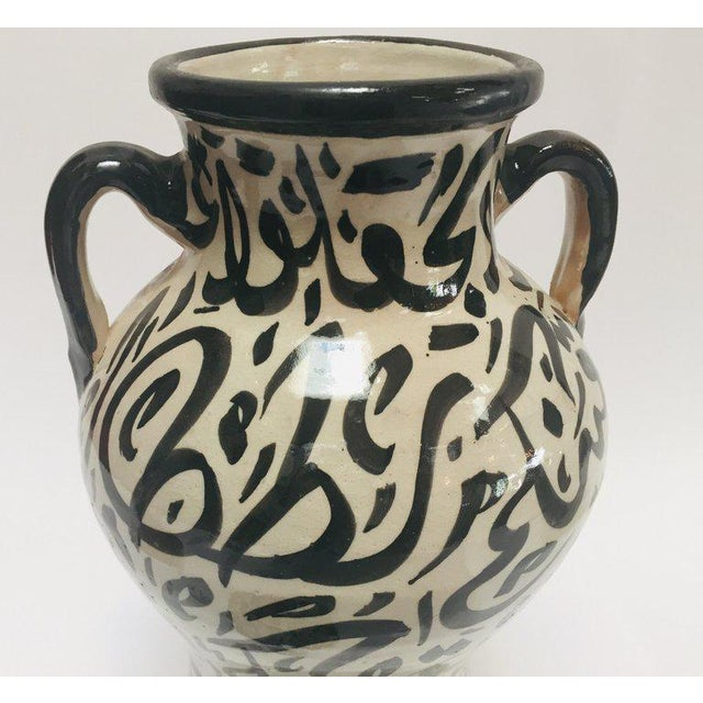 Pair of Moroccan Glazed Ceramic Urns With Arabic Calligraphy From Fez For Sale - Image 10 of 13