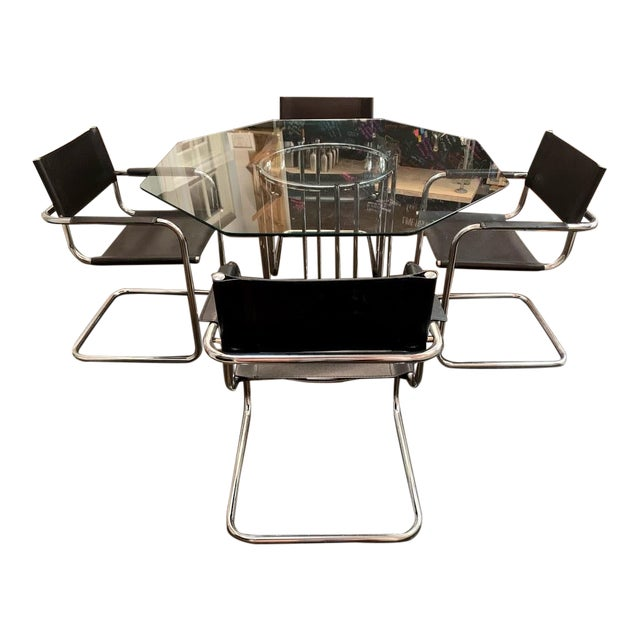 Mid-Century Modern Mart Stam Chrome & Black Cantilever Chairs With Dining Table Set - 5 Pieces For Sale