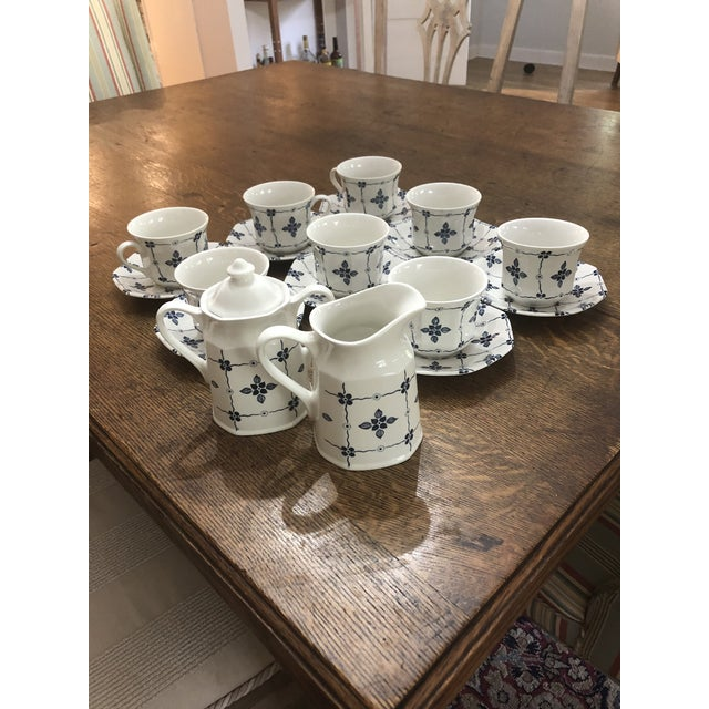 """This set of 8 cups and saucers, sugar and creamer is """" Homespun"""" Royal Staffordshire By J&G Meakin. It is ironstone and..."""