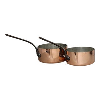 Heavy Pro Quality French Copper Pans, a Pair For Sale